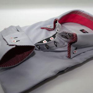Men's light grey shirt pink patterned double collar cuff