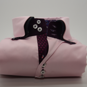 Men's light pink shirt with black double collar front