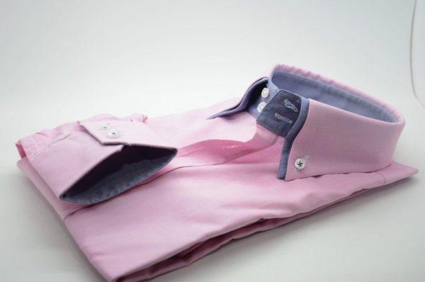 Men's light pink shirt denim blue double collar cuff