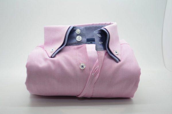 Men's light pink shirt denim blue double collar front