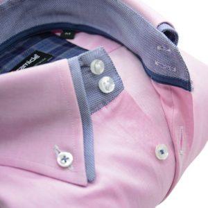 Men's light pink shirt denim blue double collar upclose