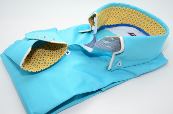 Men's light turquoise shirt double collar and yellow trim cuff