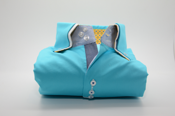 Men's light turquoise shirt double collar and yellow trim front