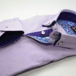 Men's lilac Oxford cotton shirt navy double collar cuff