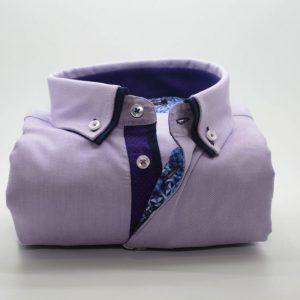 Men's lilac Oxford cotton shirt navy double collar front