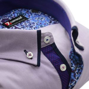 Men's lilac Oxford cotton shirt navy double collar upclose