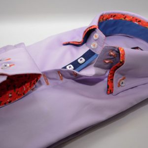 Men's lilac shirt with orange double collar cuff