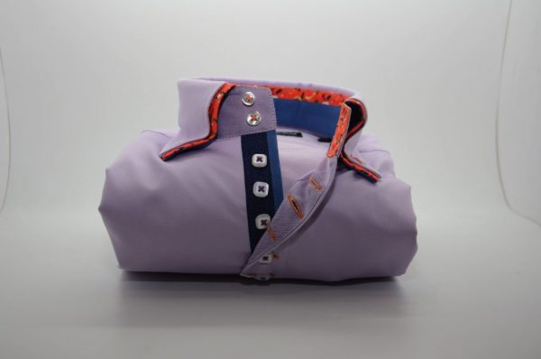 Men's lilac shirt with orange double collar front