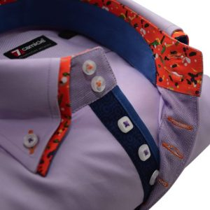 Men's lilac shirt with orange double collar upclose