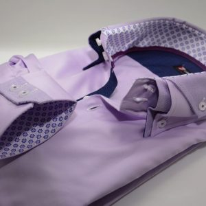 Men's lilac slim fit shirt Oxford cotton double cuff
