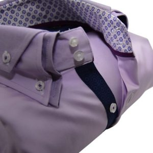 Men's lilac slim fit shirt Oxford cotton double upclose