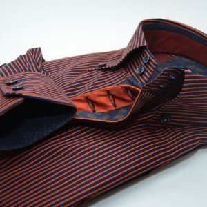 Men's navy blue and orange stripe single collar shirt cuff