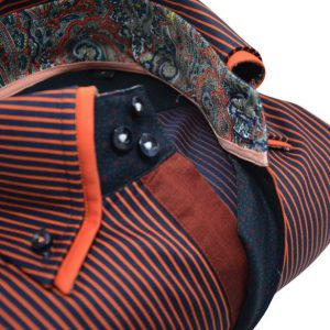 Men's navy and orange stripe shirt orange double collar upclose
