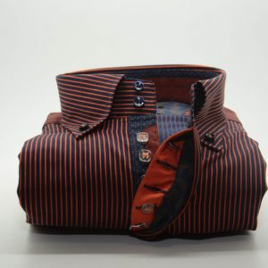 Men's navy blue and orange stripe single collar shirt front