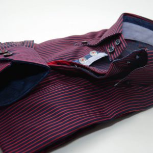 Men's navy and red stripe shirt single collar cuff