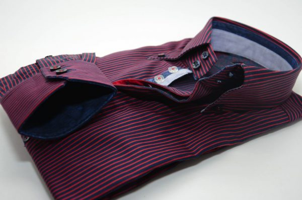 Men's navy and red stripe shirt single collar cuff