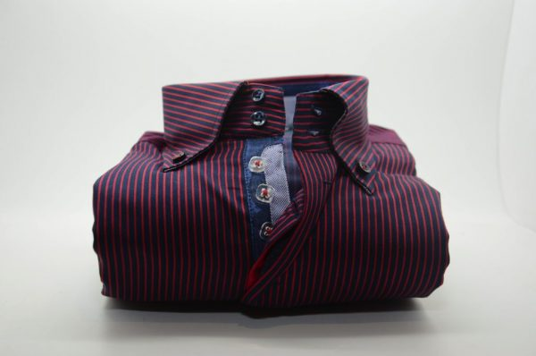 Men's navy and red stripe shirt single collar front