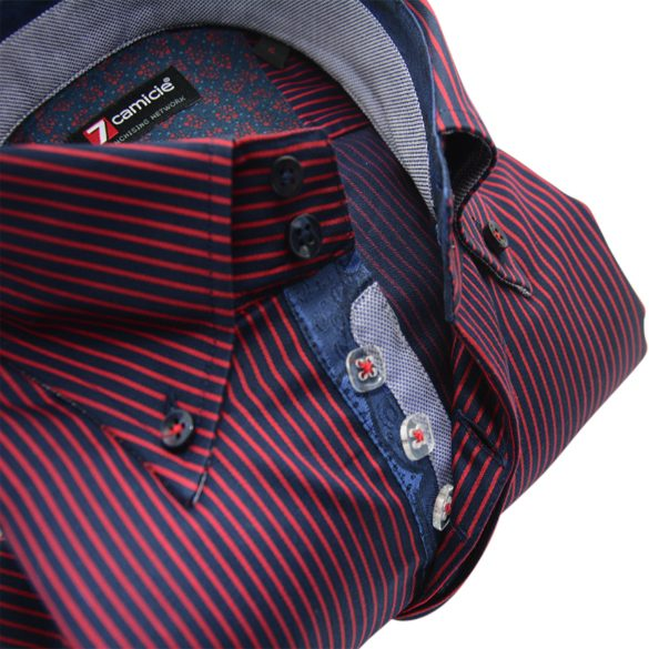 Men's navy and red stripe shirt single collar upclose