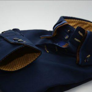 Men's navy blue shirt with brown triple collar cuff