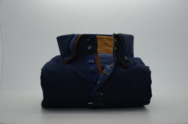Men's navy blue shirt with brown triple collar front