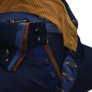 Men's navy blue shirt with brown triple collar upclose