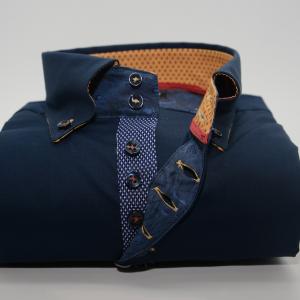 Men's navy blue single collar shirt with mustard yellow trim front