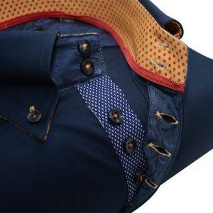 Men's navy blue single collar shirt with mustard yellow trim upclose