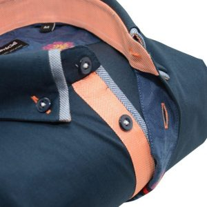 Men's navy shirt small double collar orange trim upclose