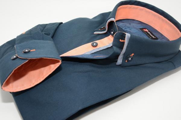Men's navy shirt small double collar orange trim cuff