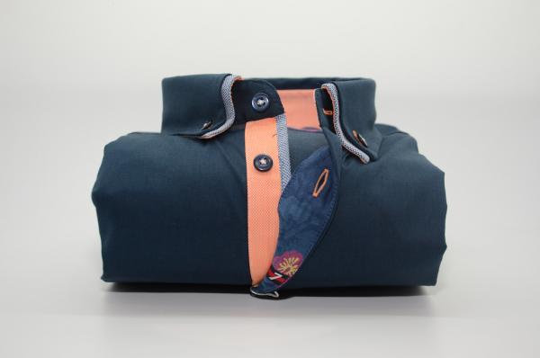 Men's navy shirt small double collar orange trim front