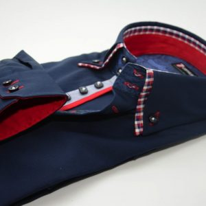 Men's navy blue slim fit shirt red check double collar cuff