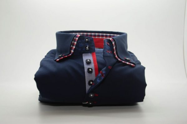 Men's navy blue slim fit shirt red check double collar front