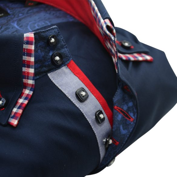 Men's navy blue slim fit shirt red check double collar upclose