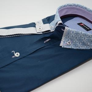 Men's navy short sleeve shirt patterned double collar cuff