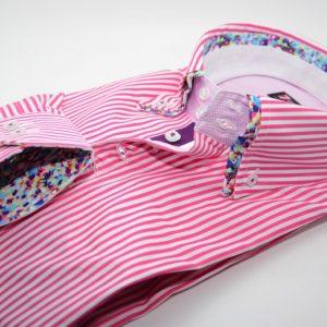 Men's pink and white stripe shirt multicolour double collar cuff