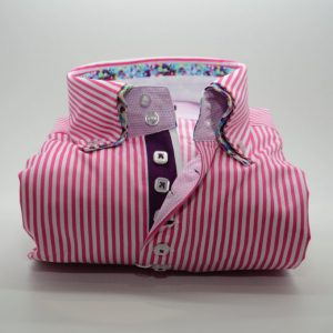 Men's pink and white stripe shirt multicolour double collar front