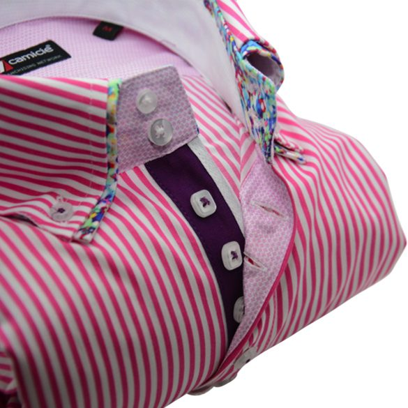 Men's pink and white stripe shirt multicolour double collar upclose