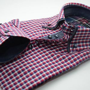 Men's red and blue check shirt denim blue double collar cuff