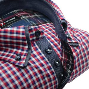 Men's red and blue check shirt denim blue double collar upclose