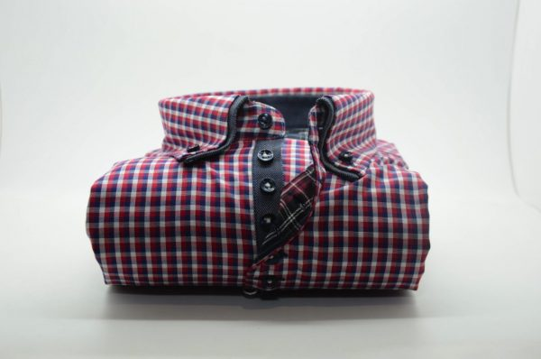 Men's red and blue check shirt denim blue double collar front