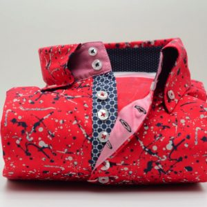 Men's red patterned shirt with single collar front
