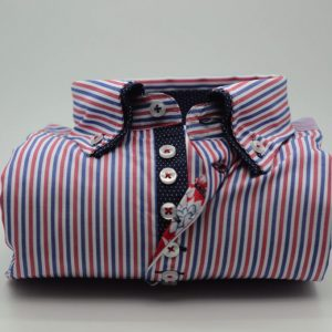 Men's red white and blue striped shirt with navy double collar front