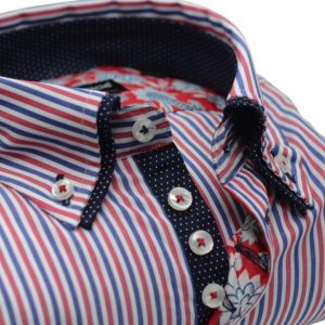 Men's red white and blue striped shirt with navy double collar upclose