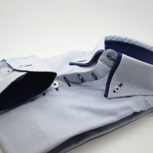 Men;s light blue shirt fine blue check with navy double collar cuff
