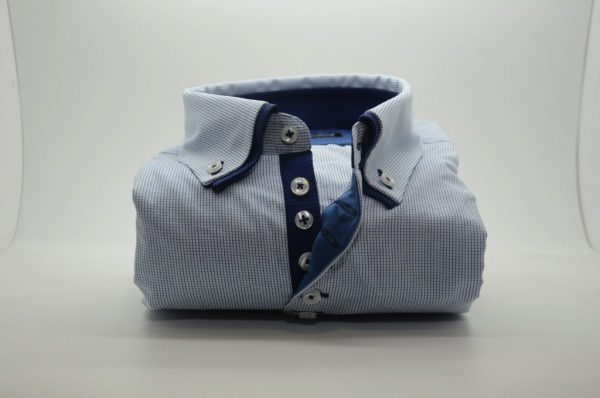 Men;s light blue shirt fine blue check with navy double collar front