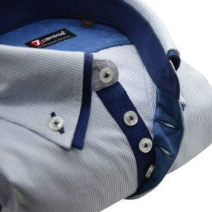 Men;s light blue shirt fine blue check with navy double collar upclose