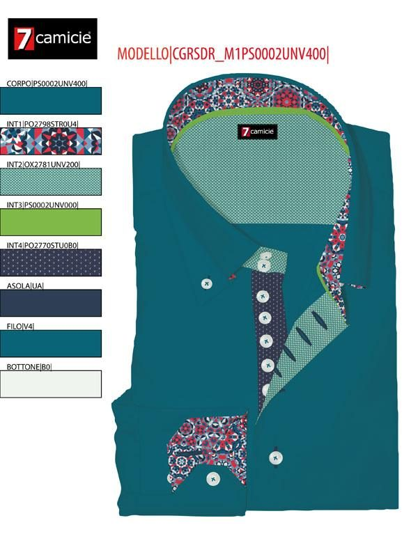Men's teal single collar shirt with navy trim 7camicie shot