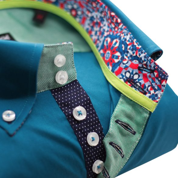 Men's teal single collar shirt with navy trim upclose