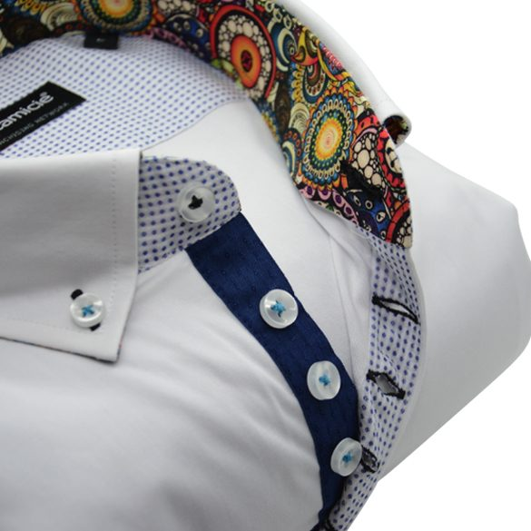 Men's white shirt dark blue and paisley trim upclose