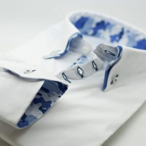 Men's white slim fit shirt with blue camouflage double collar cuff